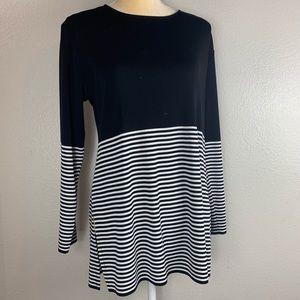 Misook Black Striped Flattering Blouse Large